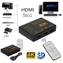 HDMI Switcher 5 Port 4K*2K 1080P HDMI Switch Selector Splitter Box Ultra HD With Hub IR Remote Controller For HDTV DVD TV BOX Z2 robotsky hdmi switcher 3 port 1080p video hdmi switch switcher splitter ir remote for hdtv ps3 dvd top quality