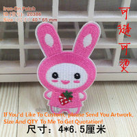 20386 Strawberry Rabbit Iron On Patches