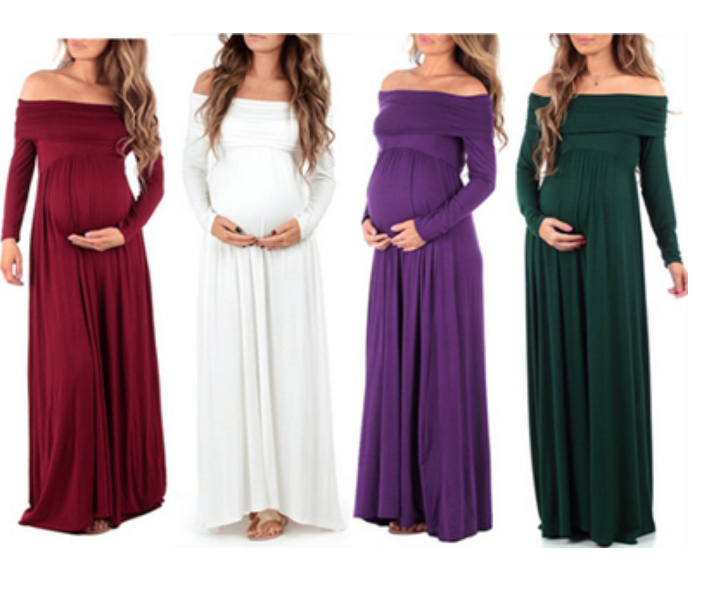Pregnant Women Shoulder Lapel Long Sleeve High Waist Maternity Dres