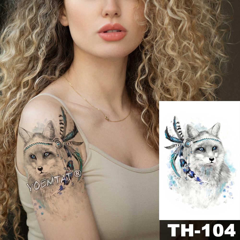 Etiqueta Do Tatuagem Temporária à prova d' água olhos Azuis cinzentos lobo padrão de Transferência de Água do corpo do animal selvagem arte flash tatoo falso