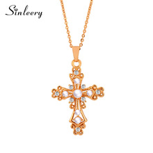 SINLEERY Vintage Baroque Style Simulert Pearl Hollow Cross Anheng Halskjede Kjede For Women Girl Christmas Chic Smykker Xl283