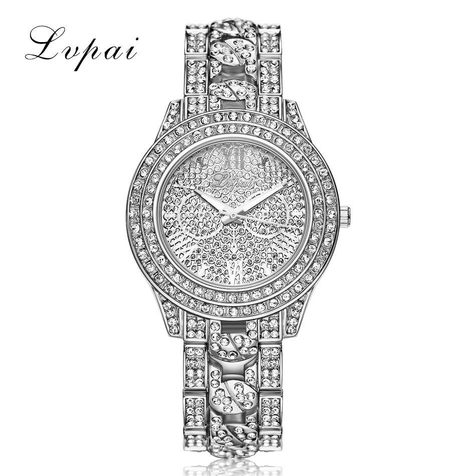 LVPAI Luxury Diamond Watches Women Fashion Brand Stainless Steel Bracelet Wrist Watch Womens Design Quartz Watch