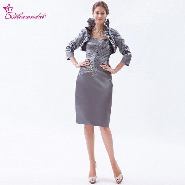 654193811dd3 Alexzendra Silver Tea Length Beads Elegant Mother of Bride Dress with  Jacket Customize Plus Size