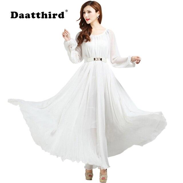 Sommer Herbst Langarm Weiß Sommerkleid Ferien Strand Maxi Kleid ...