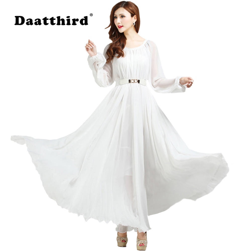 US $32.39 19% OFF|Summer Autumn Long Sleeve White Sundress Holiday Beach  Maxi Dress Party Guest Sundress Plus Size Boho maternity Beach  Bridesmaid-in ...