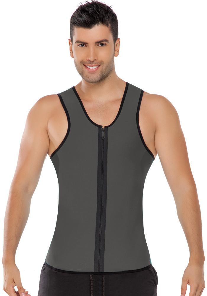 Men Latex Ultra Sweat Hot Waist Trainer Body Shaper Slimming Fit Vest Neoprene Front Zipper Fat Borning Control Top Shapewear (5)