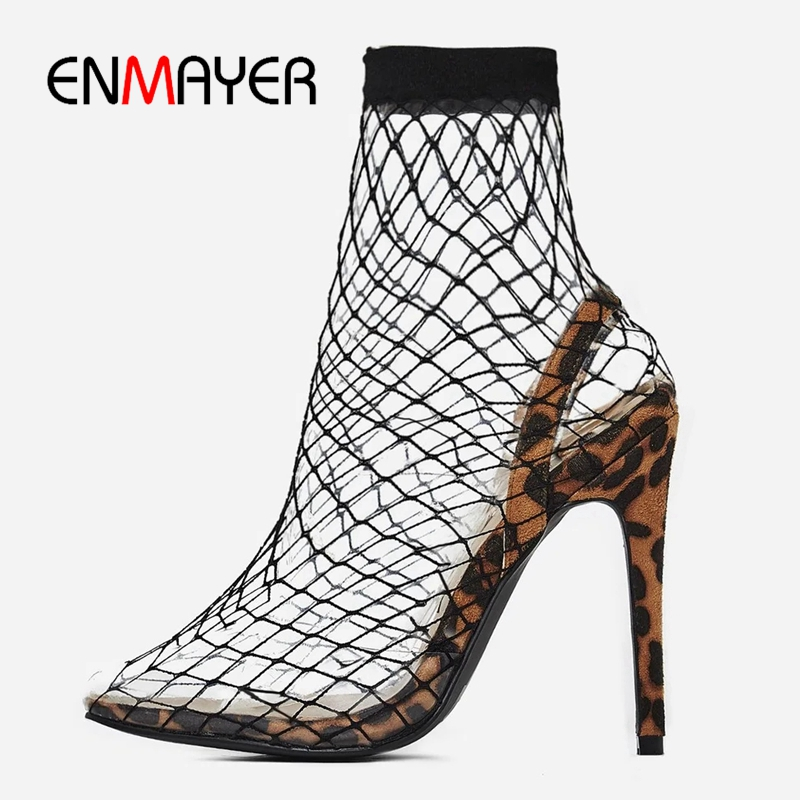 ENMAYER 2019 Sexy Women Sandals Mesh Heels Slip On Pointed Toe Party Summer Thin Heels Rome