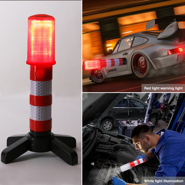 2pc LED magnetyczna latarka awaryjna drogowe flary odpinany stojak Beacon bezpieczeństwo światło stroboskopowe ostrzeżenie sygnał ostrzegawczy SOS lampy