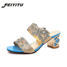 FeiYiTu PU Leather Filp Flops Women Fashion Crystal Slippers Sexy Rhinestone High Heels Open toe Summer Shoes