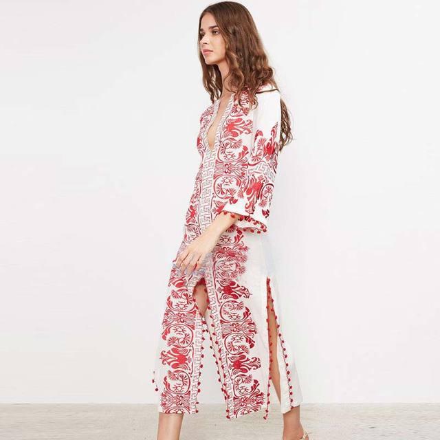 BOHOFREE Runway Embroidery Dress Vintage Maxi Hippie Ethnic Vestidos ...