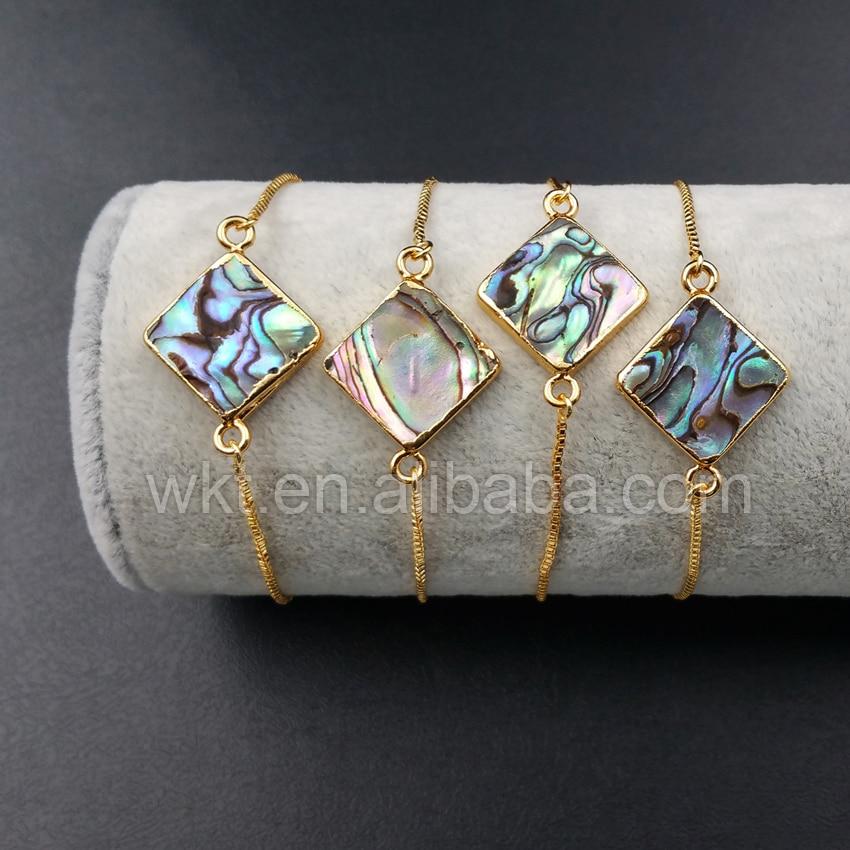 WT-B342 wholesale custom Fashionable design 24K gold trim abalone shell Connector Bracelets square Connector Bracelets