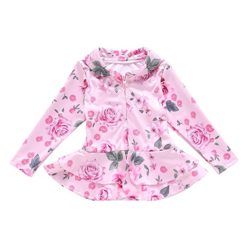 Fein Herbst Nette Floral Print Langarm Mädchen Mantel Rüschen Saum Tops Süße Zipper Drehen Unten Kragen Oberbekleidung