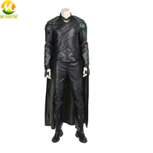 Thor 3 Ragnarok Loki Cosplay Costume Leather Vest Pants Cloak Halloween For Adult Men
