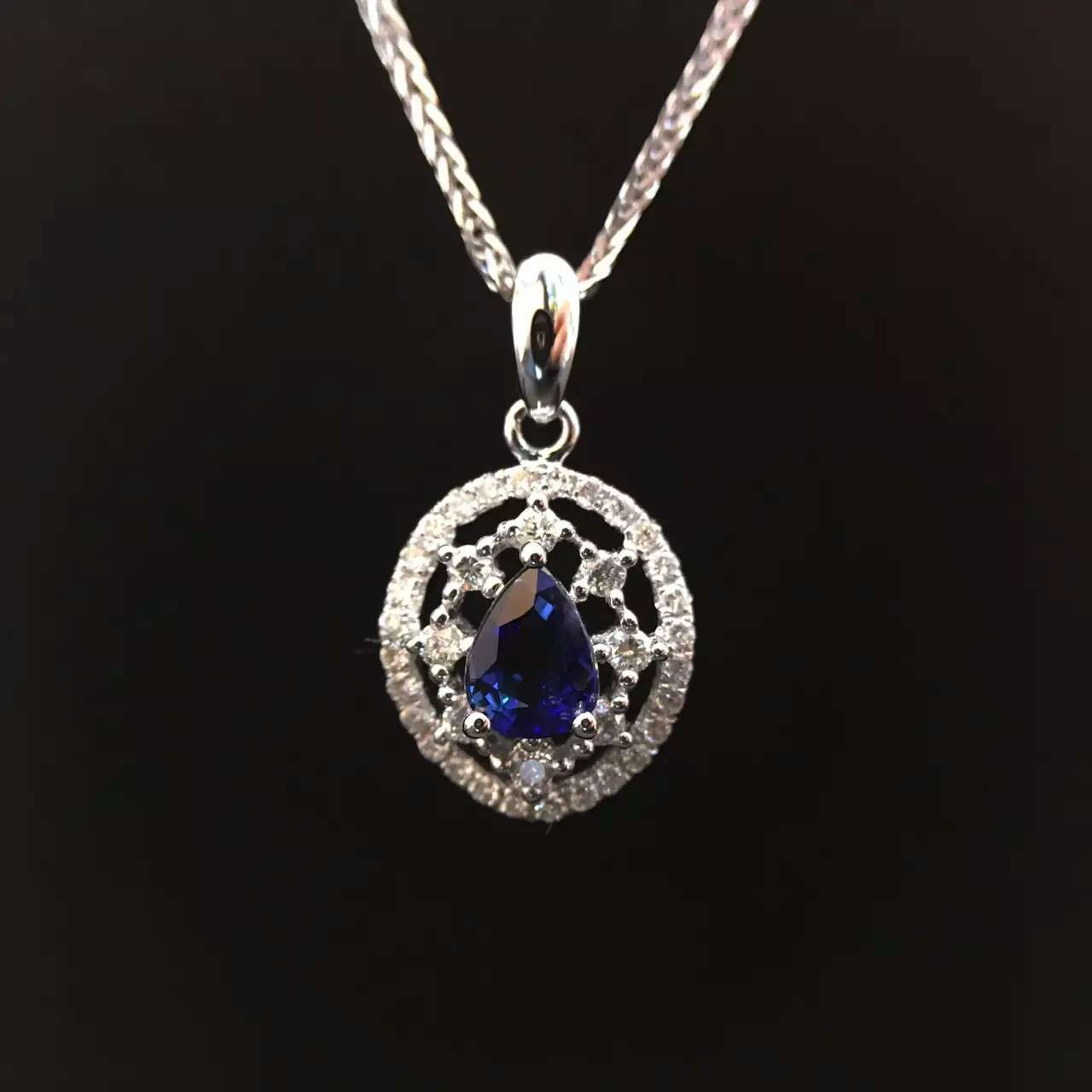 0 602ct 0 285ct 18K White Gold Natural Sapphire and Pendant font b Necklace b font
