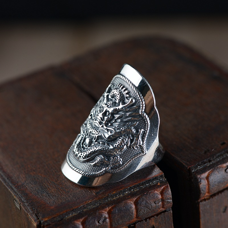 FNJ Dragon Ring 925 Silver Punk New Fashion S925 Sterling Silver Rings for Men Jewelry Adjustable