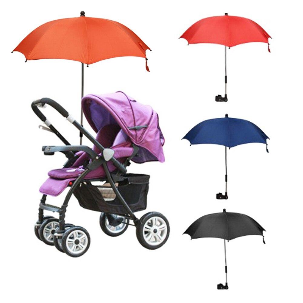 Protable Baby Stroller Accessories Umbrella Colorful Kids Children Pram Shade Parasol Solid Color Adjustable Folding Umbrella