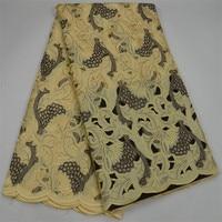 Бежевый, желтый Цвет Швейцарский Voile тяжелых шнурки Африки кружевной ткани с Handcut 2018 Высокое качество Африканский тюль кружево для отделки 30