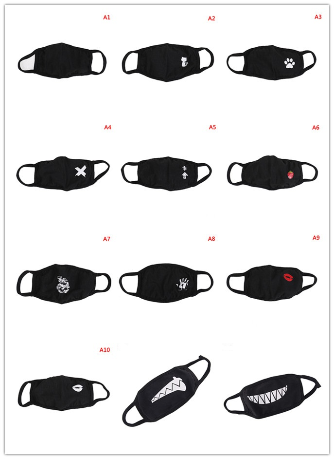 1pc Unisex Cotton Mouth Mask Multi Styles Dust Respirator Fashion Black Face Masks Men Women Anti-Dust 1pc