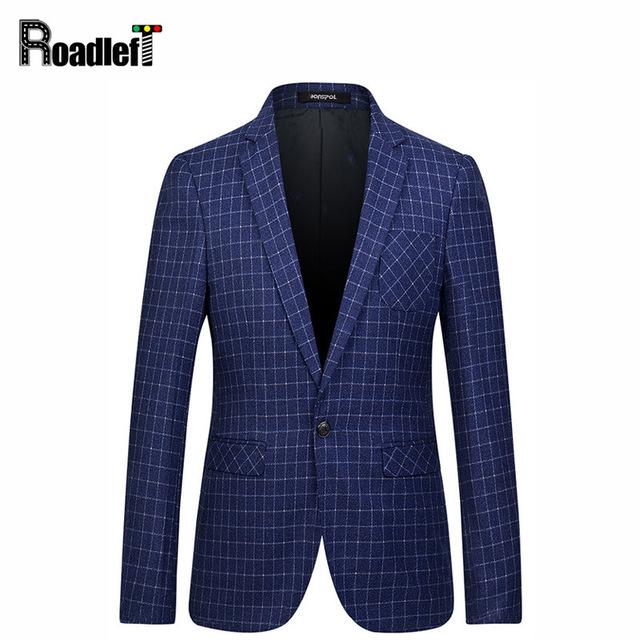 2016 primavera/otoño moda Hombre tela escocesa ocasional de la chaqueta de Los Hombres un botón slim fit traje chaqueta chaquetas de Vestir de Los Hombres capa del juego