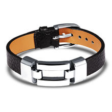 Женский кожаный браслет регулируемый шириной 30 мм