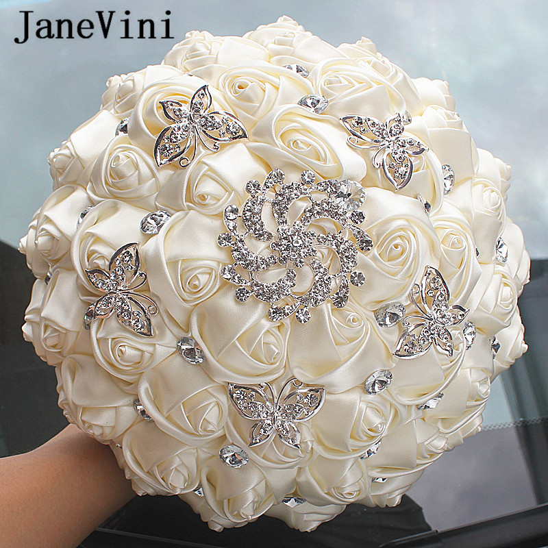 JaneVini Beautiful Ivory Bridal Bouquets Artificial Rhinestone Bouquet Brooch Holding Flowers Bruids Boeket Wedding Accessories