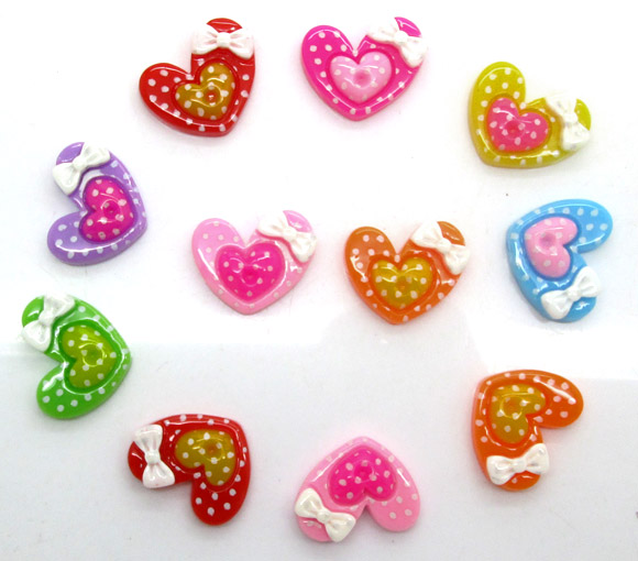 50Pcs Mixed Resin Heart Beads Decoration Crafts Flatback Cabochon Scrapbooking Fit Hair Clips Embellishments Diy