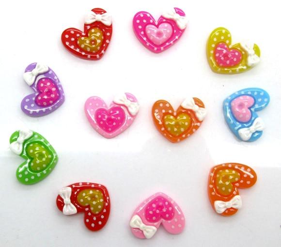 50Pcs Mixed Resin Heart Beads Decoration Crafts Flatback Cabochon Scrapbooking Fit Hair Clips Embellishments Diy