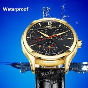 Image 4 - CARNAVAL Mode Mechanische Mannen Horloge Top merk Multifunctionele Automatische Horloges Mannen Kalender Waterdichte Lichtgevende reloj hombre