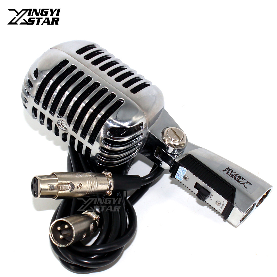 Professional Switch Vocal Wired Vintage Dynamic Mic Karaoke Microphone For Video Recording KTV Stage Singer Sing Mixer Amplifier professional switch dynamic wired microphone stand metal desktop holder for beta 58 bt 58a ktv karaoke mic microfone audio mixer