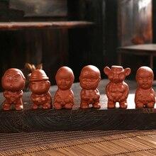 6 шт./лот, кукольный Китайский Исин, zisha, Фиолетовый Глиняный чай, домашнее украшение для домашних животных, чайный поднос, прекрасный писаный мальчик, чай, игра в продаже в Китае