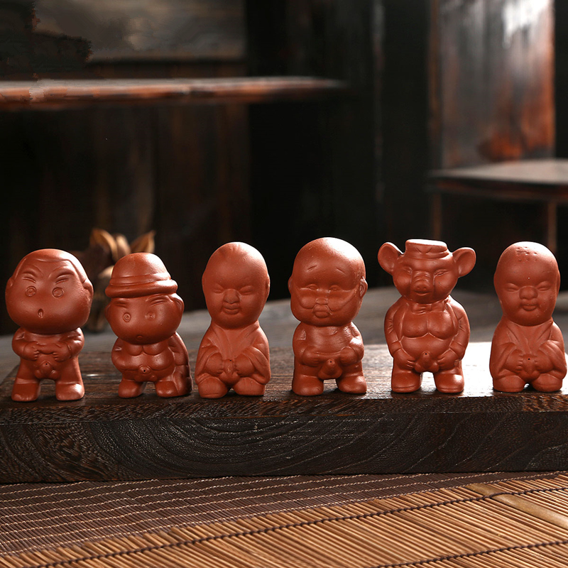 6pcs/lot Pee Doll Chinese Yixing Zisha Purple Clay Tea Pet Home Decoration On Tea Tray Lovely Pee Boy Tea Play On Sales In China