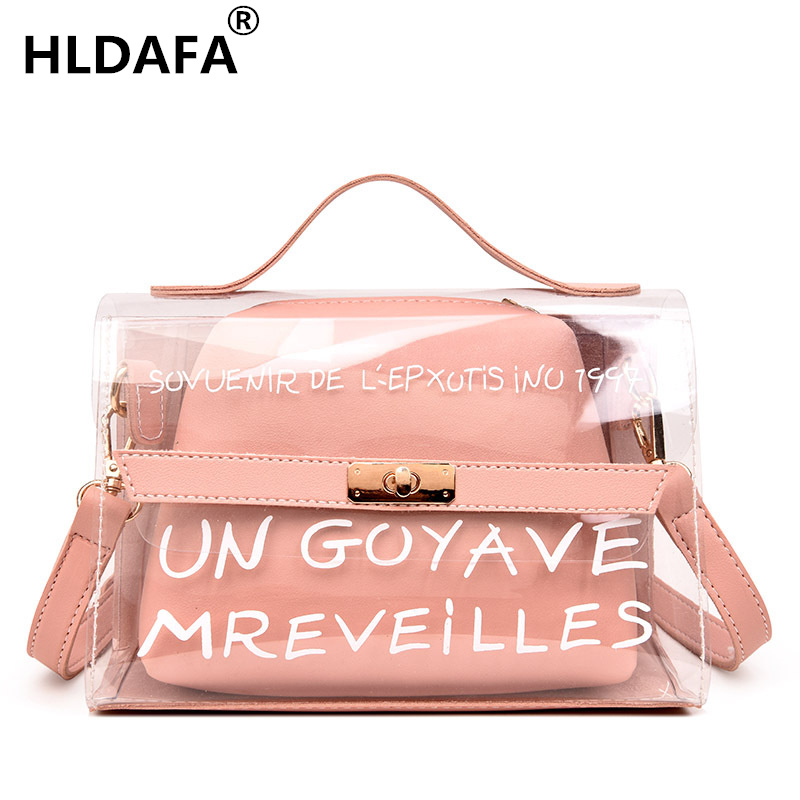 HLDAFA 2018 Design Luxury Brand Women Transparent Bag Clear PVC Jelly Small Tote Messenger Bags Female Crossbody Shoulder Bags