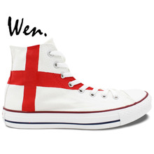 Wen Hand Painted White Shoes Design Custom England Flag High Top Men Women's Canvas Sneakers for Birthday Gifts
