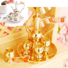 MINI dollhouse miniature Mini gold metal furniture accessories wine set good quality 6
