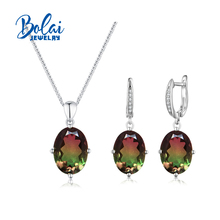 Bolaijewelry,Doublet multicolor crystal fine set jewelry 925 sterling silver contracted design for woman anniversary gifts