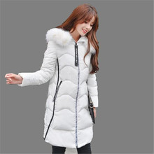 Women Winter Coat 2016 Thicken Fur Collar Hooded Long Jacket Down Cotton Jacket Big Yards Loose Padded Leisure Womens Coat A2045