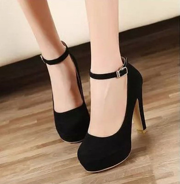 [H][C]Fall 2017 New Designer Shoes Black Round Head High Heels Thick With Shallow Single Shoes women's Shoes .XXXY-159