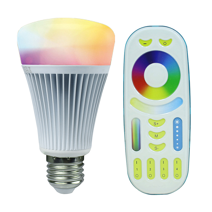 2.4G Wireless E27 8W RGBWW+ Color Temperature Dimmable 2 in 1 Smart MiLight LED Bulb With RF Remote Controller AC85-265V