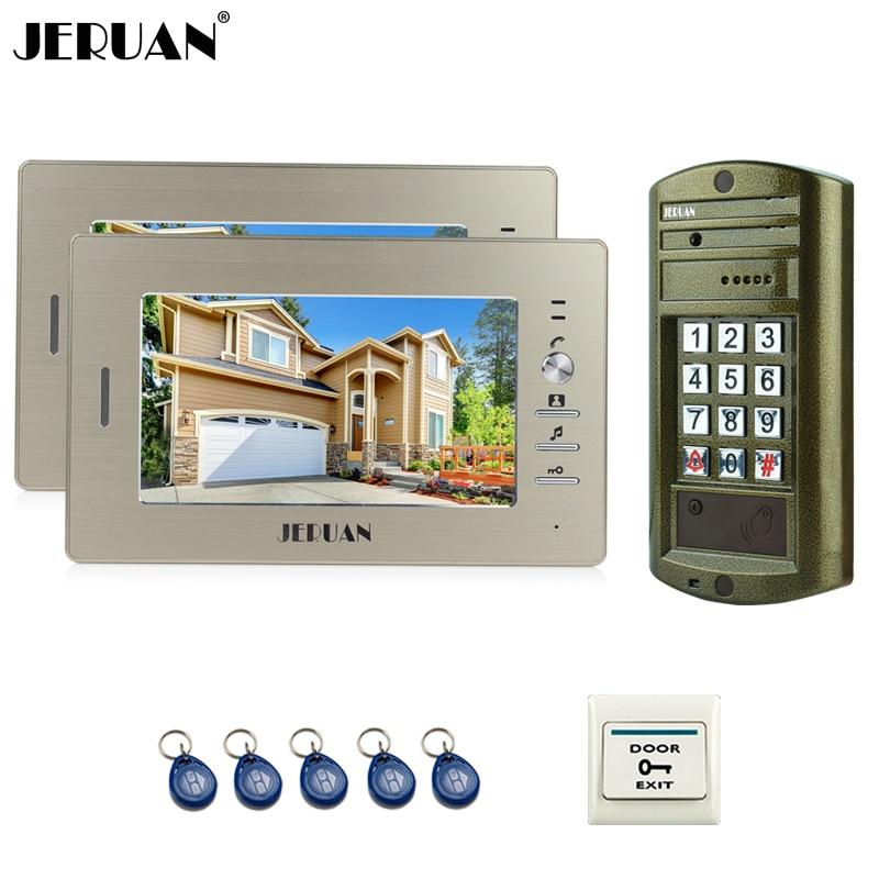 JERUAN 7 inch Video Door Phone Intercom System kit 2 Monitor + Metal panel Waterproof Access Password keypad HD Mini Camera 1V2