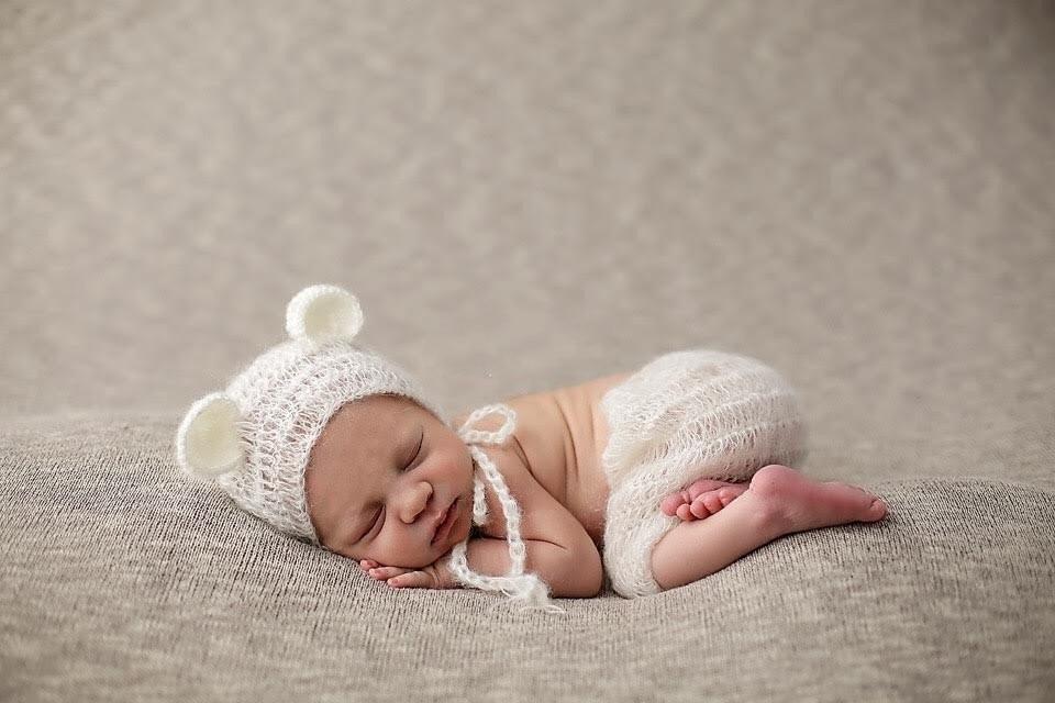 Purple Mohair Pants and Hat Set Newborn Photography