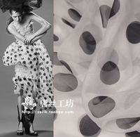 Wholesale Big Polka Dot Silk Chiffon Print Fabric The Trend Of The Wind Vane Silk Fabric