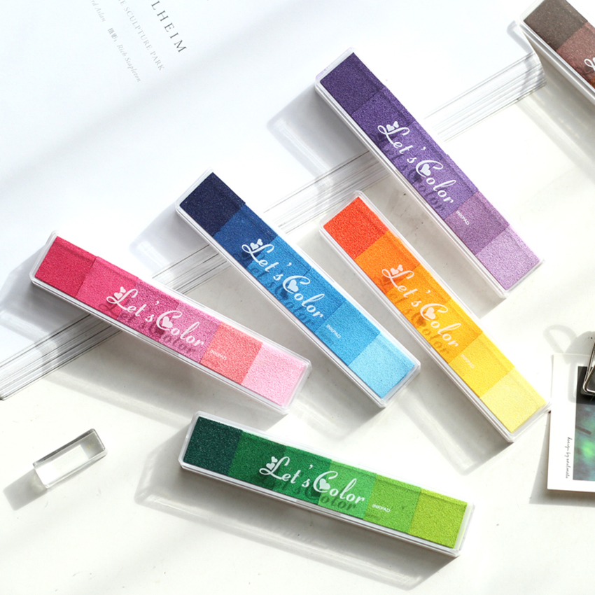 Non-Toxic Gradient Color Inkpad Rubber Stamp Oil Based Fingerprint Colorful Craft Stamp DIY Art Hand Account Scrapbooking Inkpad
