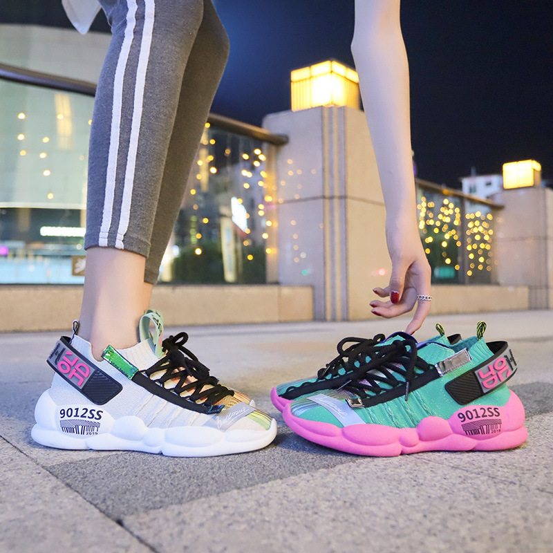 Women's Sneakers Casual Socks Shoes 2020 Fashion Women Platform Shoes Lace Up Reflective Running Shoes Female Trainers Dad Shoes
