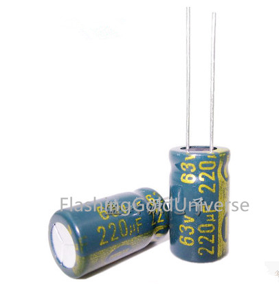 <font><b>63V</b></font> <font><b>220UF</b></font> <font><b>220UF</b></font> <font><b>63V</b></font> Electrolytic Capacitors volume: 10*16 best quality New origina image
