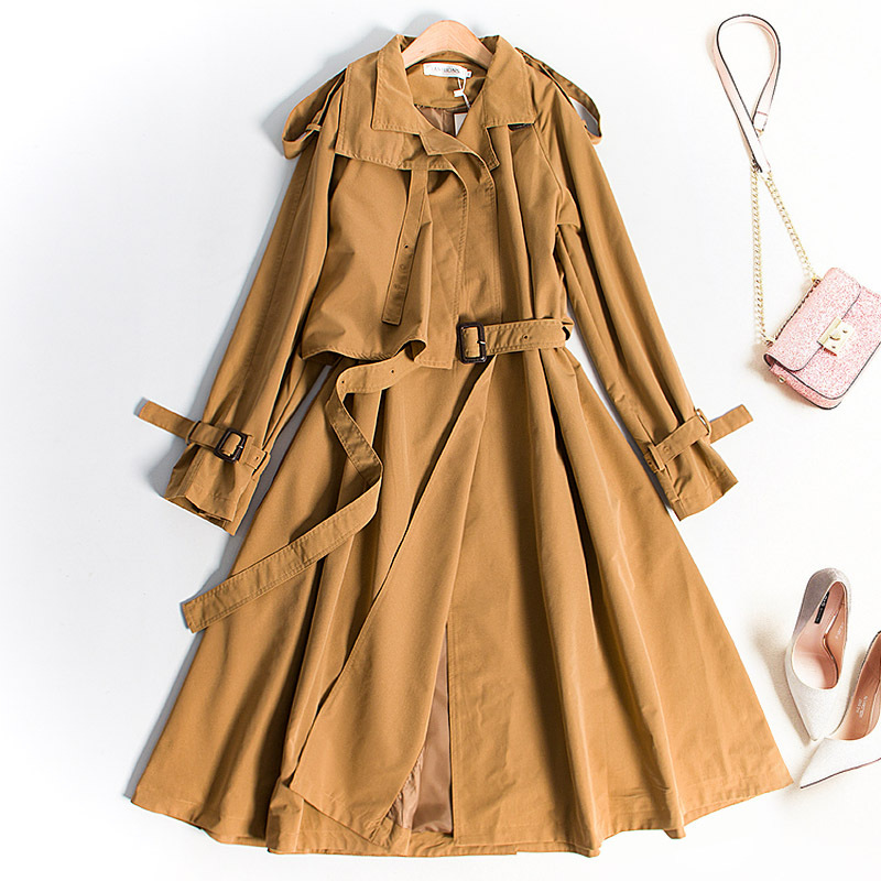 Slender Thin Windshirt Coat Long Dress Casual Women   Trench   Coat Fashion Full Sleeve Waist Belt Elegant Cute