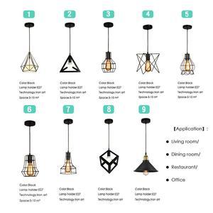 Image 4 - מודרני תליון אור שחור ברזל תליית כלוב בציר Led מנורת E27 תעשייתי לופט רטרו אוכל חדר מסעדה בר דלפק