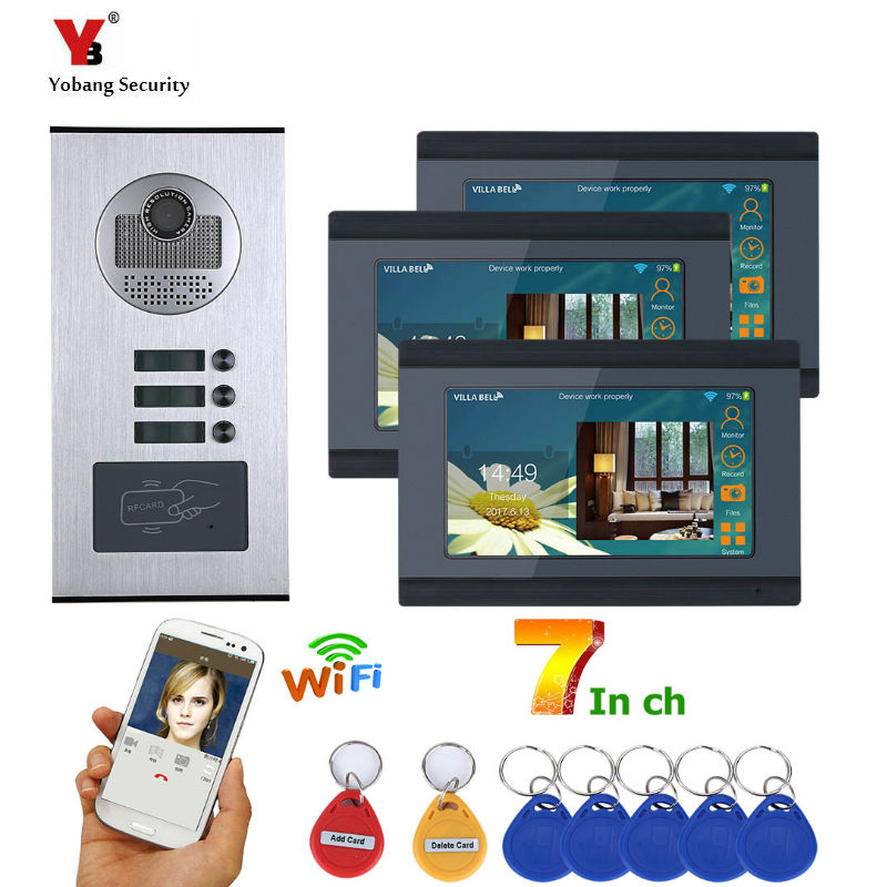 Yobang Security 3 Unit Apartment Video Intercom 7 Inch Monitor Wifi Wireless Video Door Phone Doorbell Intercom RFID Camera KIT|Video Intercom|   - title=