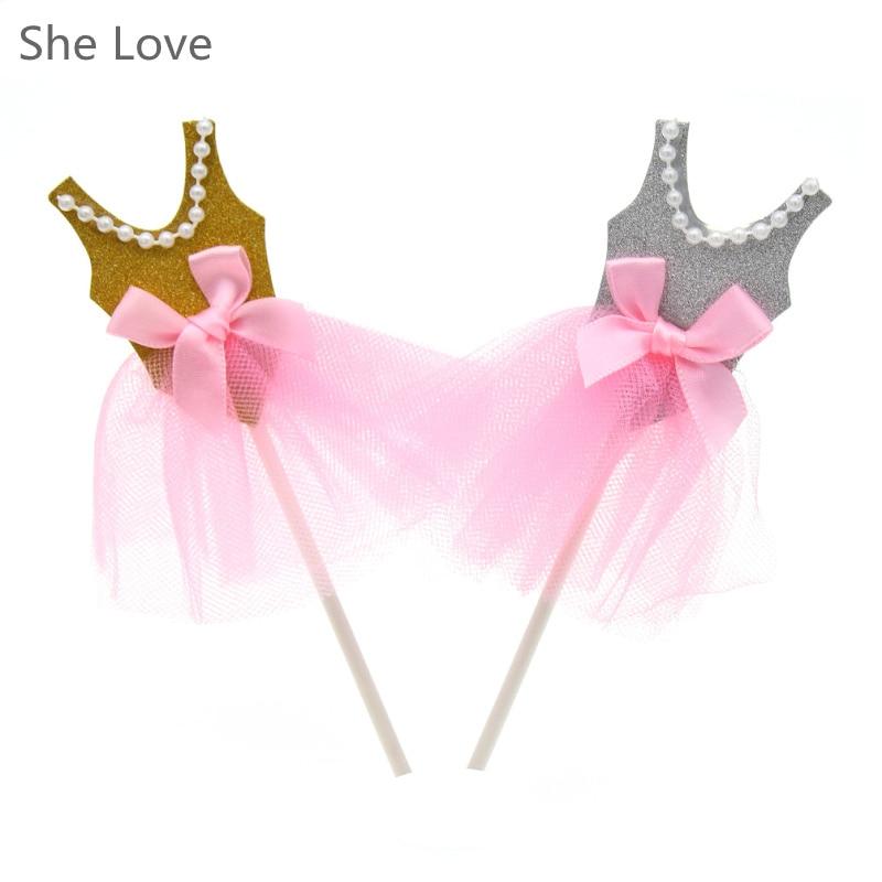 5pcs Ballerina Cupcake Toppers Princess Bowknot Veil Dress Skirt Birthday Baby Kids Cupcake Insert Card Decoration