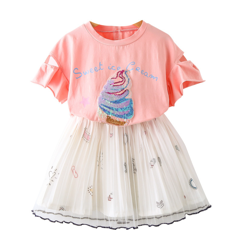 Kids Clothes Summer Girl Clothing Set 2018 New Fashoin Pink Short Sleeve Ice Cream Sequins T-shirt+Pleated Skirt Set CC906 humor bear baby girl clothes set new sequins letter long sleeve t shirt stars skirt 2pcs girl clothing sets kids clothes