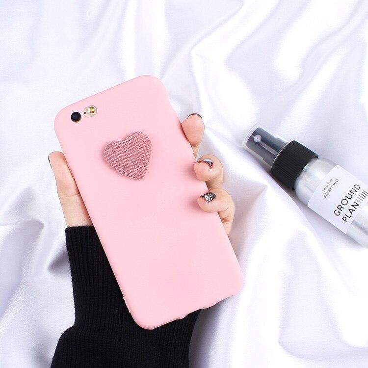 3D Cute Love Heart Matte Candy Silicone Case For OPPO F1S F3 Plus F5 F7 F9 R9 R9S R11 Plus R11S R15 R15X R19 Pro Soft TPU Cover